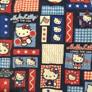 Hello kitty USA Red white and blue scrub top